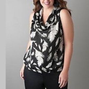18/20 Lane Bryant Feather Print Cowl Neck Top